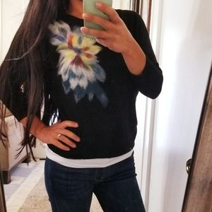 Anthro Trobadour Floral Wool Cashmere Sweater xs
